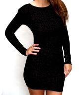 Vintage Black Halston Wool Mini Dress