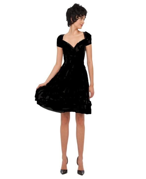 Norma Kamali Sweatheart Flair Dress black