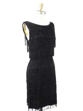 Vintage black fringe dress