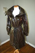 Donna Karan dark brown shiny drawstring raincoat
