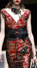 prada-red-gold-brocade-dress-runway