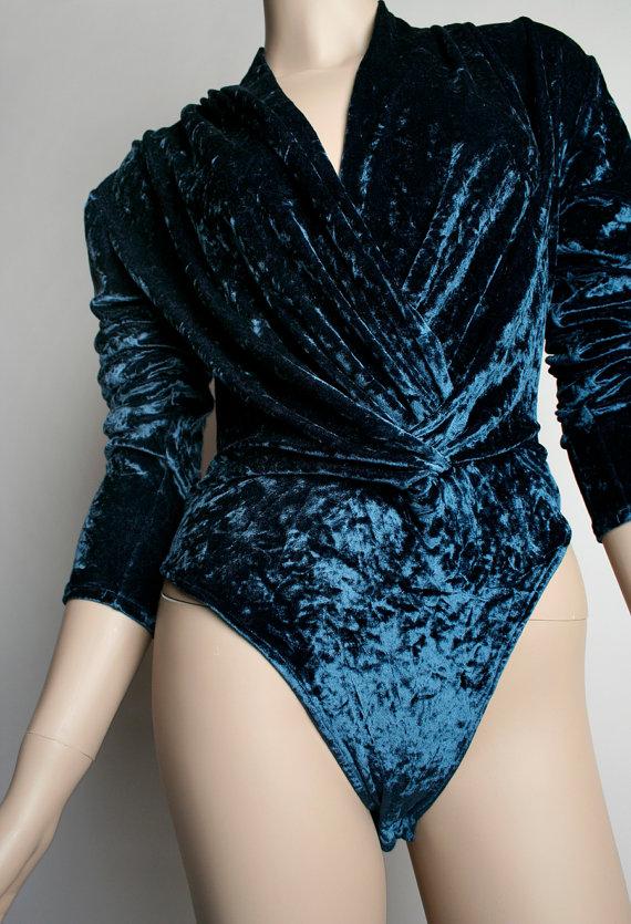teal-crushed-velvet-bodysuit-1990s