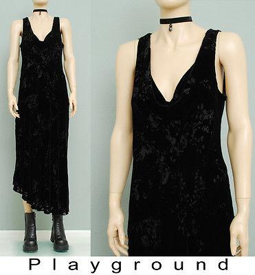 ebay-velvet-90s-vtg-black-velvet-burn-out-bias-cowl-drape-asymetrcal-hem-dkny-maxi-dress