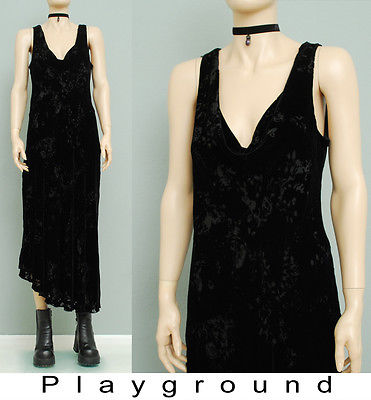 ebay-velvet-90s-vtg-black-velvet-burn-out-bias-cowl-drape-asymetrcal-hem-dkny-maxi-dress