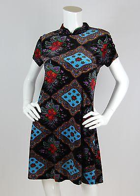 ebay-velvet-betsey-johnson-vtg-sz-m-dress-velvet-floral-roses-print-mandarin-collar-90s-rare