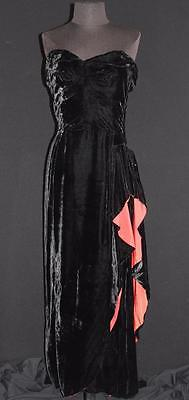 ebay-velvet-rare-vintage-strapless-1940s-black-rayon-velvet-evening-dress-peplum-size-6