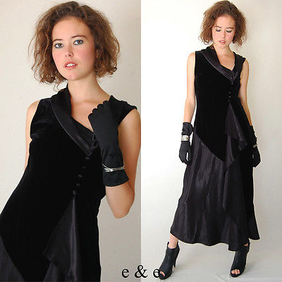 ebay-velvet-vintage-80s-does-30s-black-noir-draped-velvet-and-satin-cocktail-evening-gown