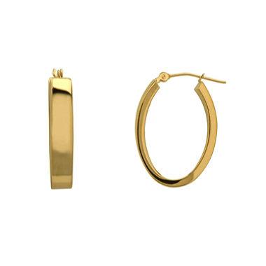 14K Gold Oval Hoop