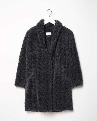 Étoile Isabel Marant Anthracite Faux Fur Coat