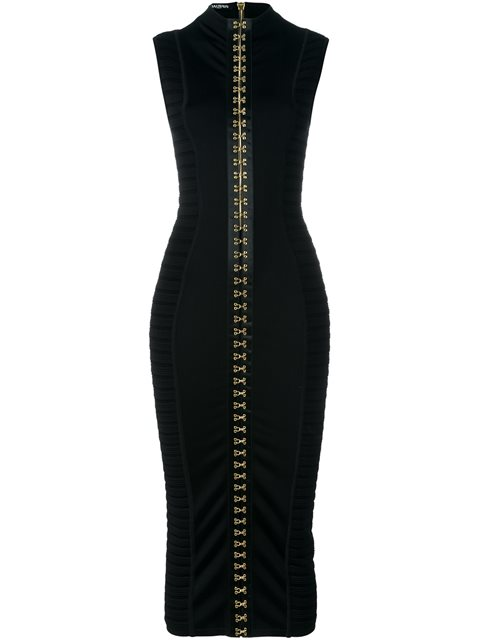 balmain-hook-and-eye-rib-knit-stretch-mock-collar-dress