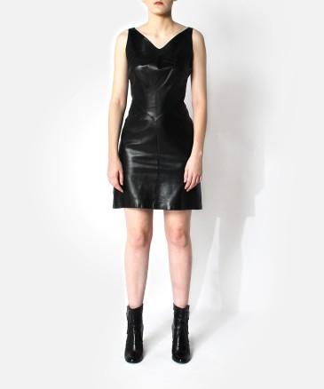 thierry-mugler-80_s-leather-dress v neck
