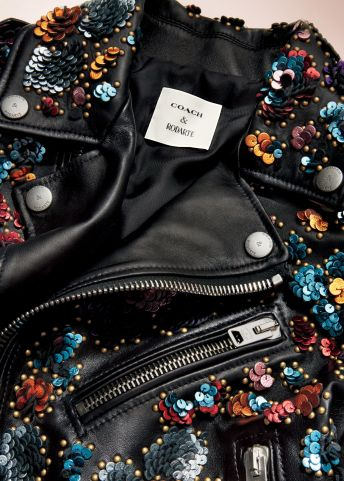 Coach x Rodarte Moto Jacket with Leather Sequins, $3,500 close-up