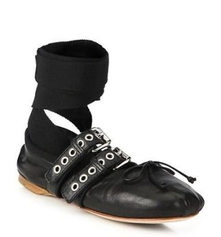 Miu Miu black leather velvet strap buckled ballet shoes 2016