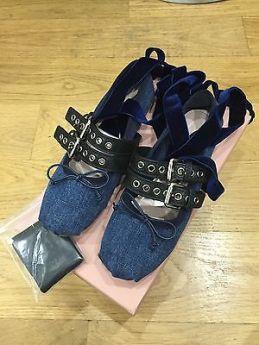 Miu Miu Denim blue velvet strap buckled ballet shoes Spring