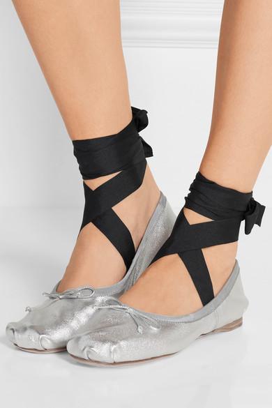 e3946de3bd4 Miu Miu Lace-up grosgrain-trimmed metallic leather ballet flats  550 ...