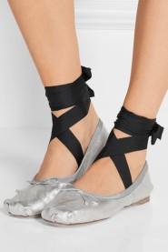 Miu Miu Lace-up grosgrain-trimmed metallic leather ballet flats $550