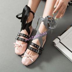 Miu Miu pink leather black satin strap buckled ballet shoes 2016