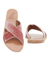 Ancient Greek Sandals Thais Cross Strap Pink Velvet