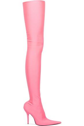 Balenciaga Thigh High Lycra Boots Pink