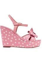 REDValentino Pink Polka Dot Wedge Sandals