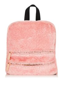 Topshop Molly Pink Fluff Backpack