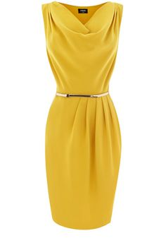 Cowl Drape Dress Oasis Yellow Dress