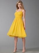 Ellen Tracy Crinkled Silk Dress Yellow