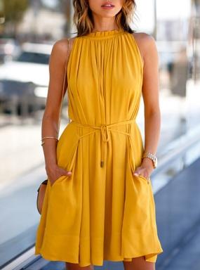 Littledesire Sleeveless Chiffon Short Mini Dress Yellow