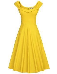 MUXXN Women's 1950s Scoop Neck Off Shoulder Cocktail Dress yellow