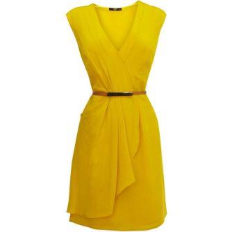 Silk Drape Dress from Oasis Yellow