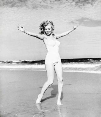 Exuberance on the beach Marilyn Monroe at Tobey Beach, by Andre de Dienes 1949