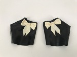 The Baroness Latex Mitts With Bows In Black &White