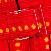 Rare Kreinick 1960s Vintage Red + Yellow Polka Dot close up
