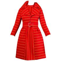 Rare Kreinick 1960s Vintage Red + Yellow Polka Dot Mod Dress + Jacket Ensemble $995 1stDibs