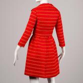 Rare Kreinick 1960s Vintage Red + Yellow Polka Dot Mod Dress + Jacket Ensemble back
