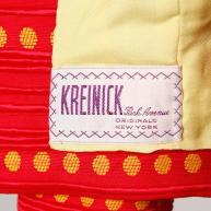 Rare Kreinick 1960s Vintage Red + Yellow Polka Dot Mod Dress + Jacket Ensemble tag