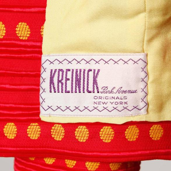 Rare Kreinick 1960s Vintage Red + Yellow Polka Dot Mod Dress + Jacket Ensemble tag