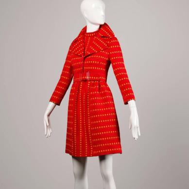 Rare Kreinick 1960s Vintage Red + Yellow Polka Dot Mod Dress + Jacket Ensemble