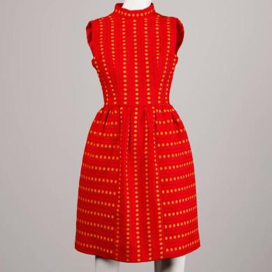 Rare Kreinick 1960s Vintage Red + Yellow Polka Dot Mod Dress