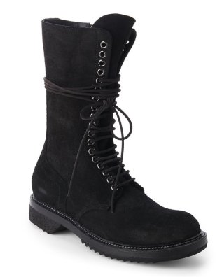 Rick Owens Army Boot Black Suede