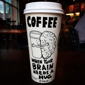 Josh Hara brain hug coffee cup