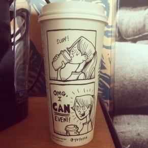 Josh Hara draws OMG coffee cup