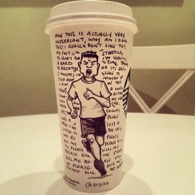 Josh Hara runner coffee cup