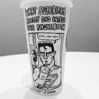 Josh Hara superman coffee cup