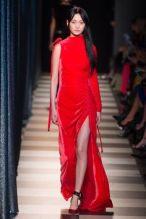 Monse cold Shoulder Velvet Red Dress model