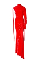 Monse cold Shoulder Velvet Red Dress
