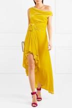 Monse cold Shoulder Velvet Yellow Dress model