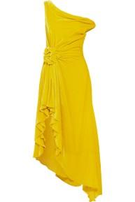 Monse cold Shoulder Velvet Yellow Dress