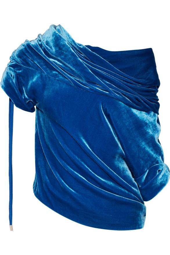 Monse Off-the-shoulder Blue Velvet Blouse photo