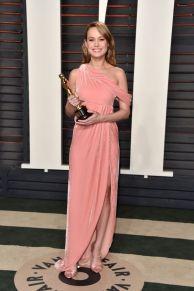 Monse one side Pink Velvet Dress Brie Larson 2016 Oscars